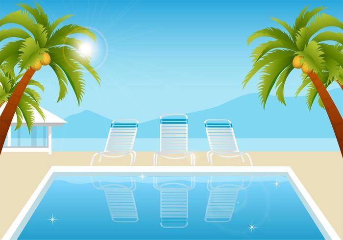 Tropisk Sommar Pool Vector Bakgrund