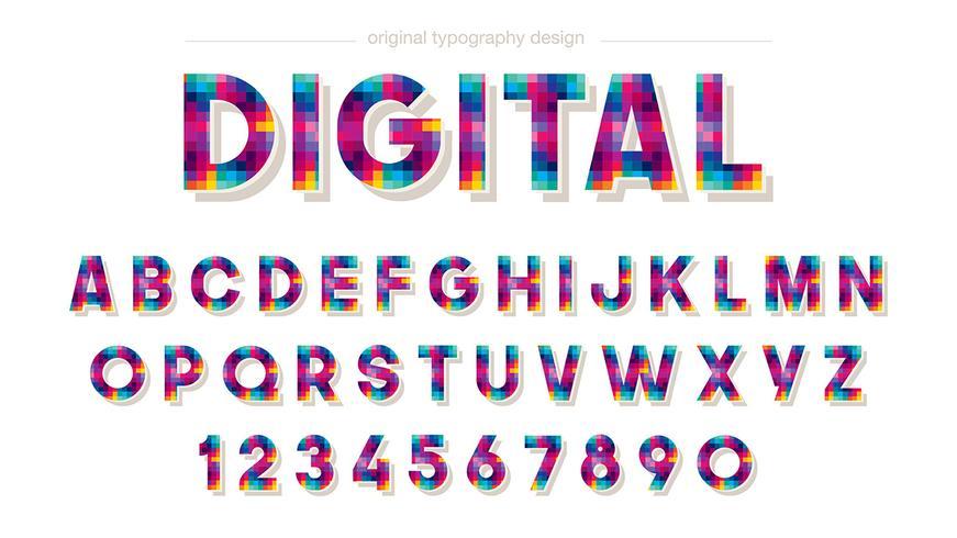 Färgrik Pixel Typography Design vektor