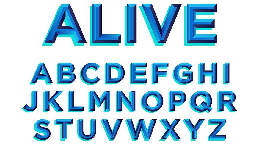 Fet Blå Typografi vektor