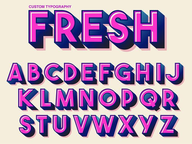 Djärv Rosa Retro Typografi vektor