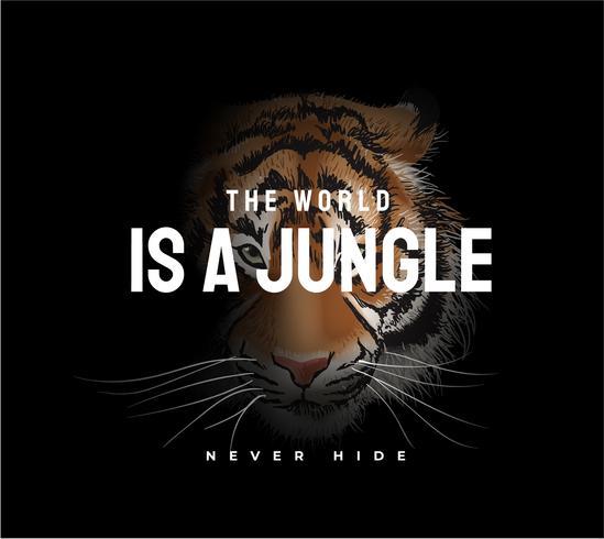 slogan med tigerhuvud i skuggillustrationen vektor