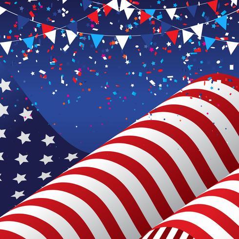 4 juli bakgrund med amerikanska flaggan vektor