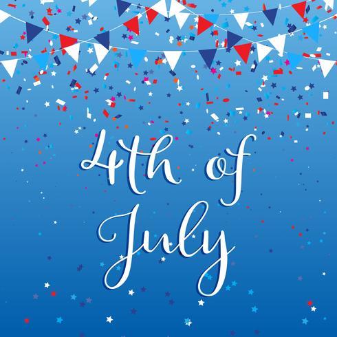 4 juli bakgrund med flaggor och konfetti vektor