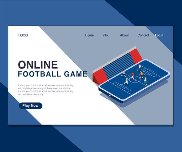 Barn Spelar Online Fotboll Spel Isometrisk Konstkoncept. vektor