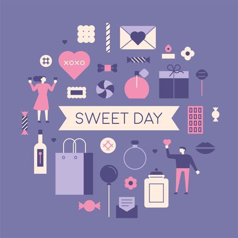Alla hjärtans dag Par med romantiska gåvor. vektor