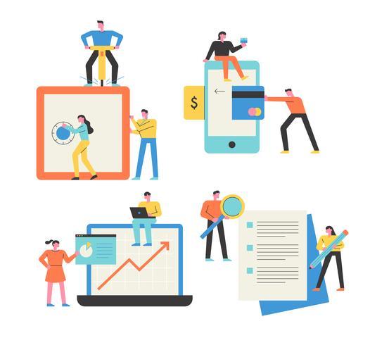 Mobil, bärbara datorer, digitala enheter, pappersarbete Människor som gör affärer. vektor