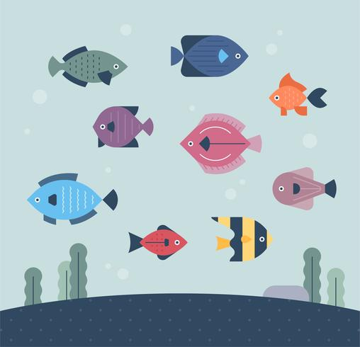 fisk under havet. vektor