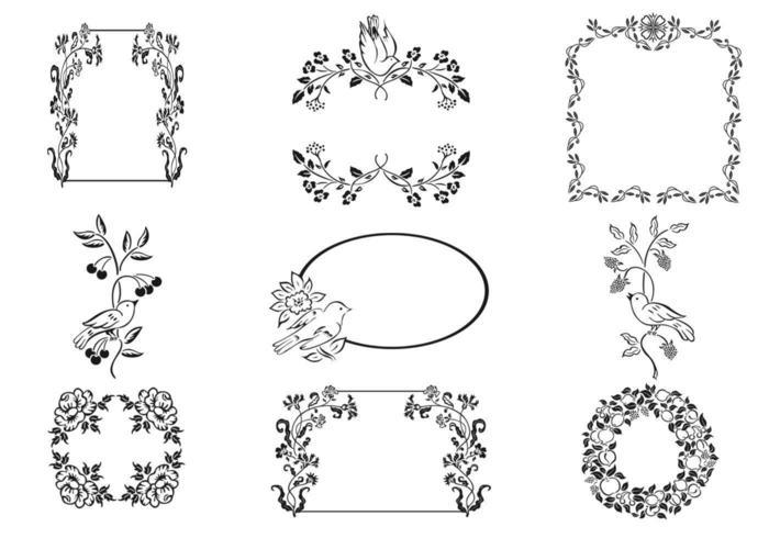 Floral Frame och Bird Ornament Vector Pack