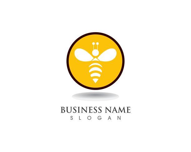Biene Logo Template-Vektorikonenillustration vektor