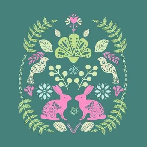 Skandinaviskt folkkonsttrycksmönster med kaniner och blommor vektor