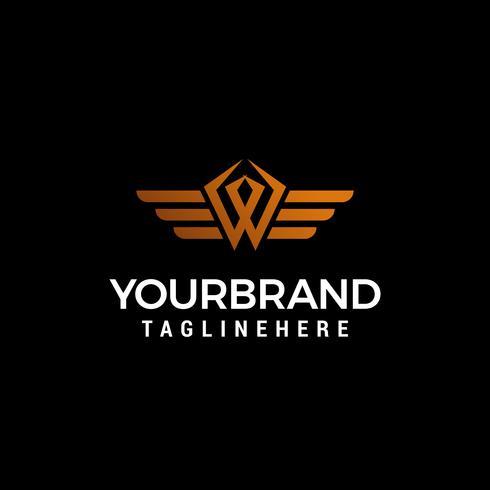 brev W vinge logotyp design koncept mall vektor