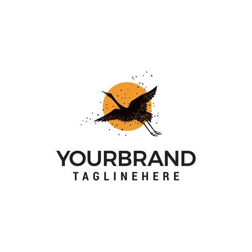 Schwan fliegende Sonne Logo Design Konzept Vorlage Vektor