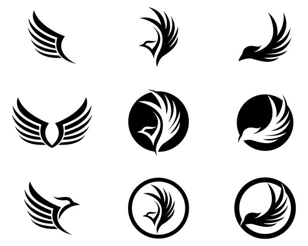 Wings Vogel Zeichen abstrakte Vorlage Symbole App vektor