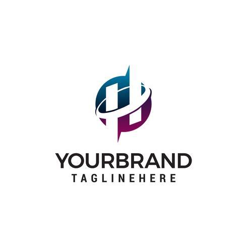 Buchstabe h Kreis Logo Design Konzept Vorlage Vektor