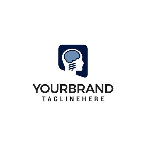 hjärnhuvud logotyp designkoncept mall vektor