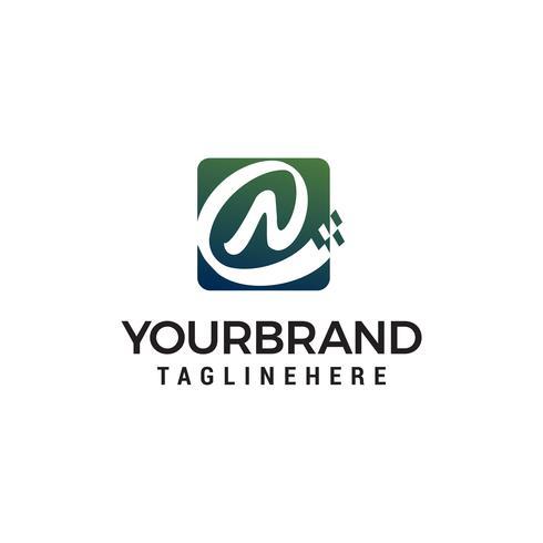 Buchstabe N Pixel Logo Design Konzept Vorlage Vektor