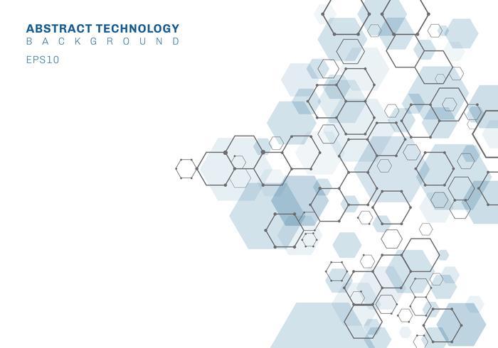 Abstrakt blå hexagonal molekylstruktur av nervsystemet. Digital teknik bakgrund. Framtida geometrisk mall. vektor