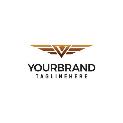 Buchstabe V Flügel Logo Design Konzept Vorlage Vektor