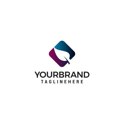 Blatt Quadrat Logo Design Konzept Vorlage Vektor