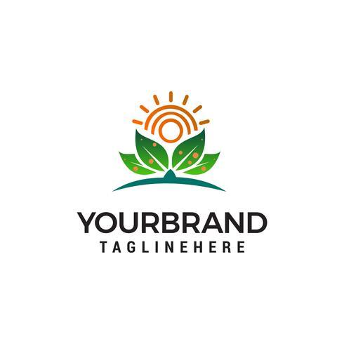 Sonne und Blatt Logo Design Konzept Vorlage Vektor