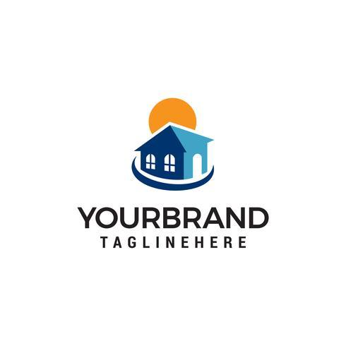 Immobilien Sonne Logo Design Konzept Vorlage Vektor