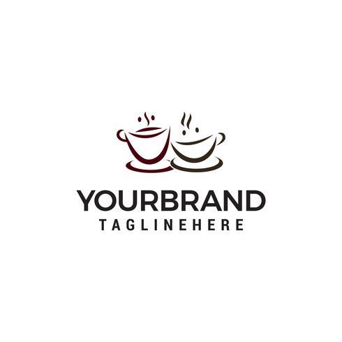 två kopp kaffe logotyp design koncept mall vektor