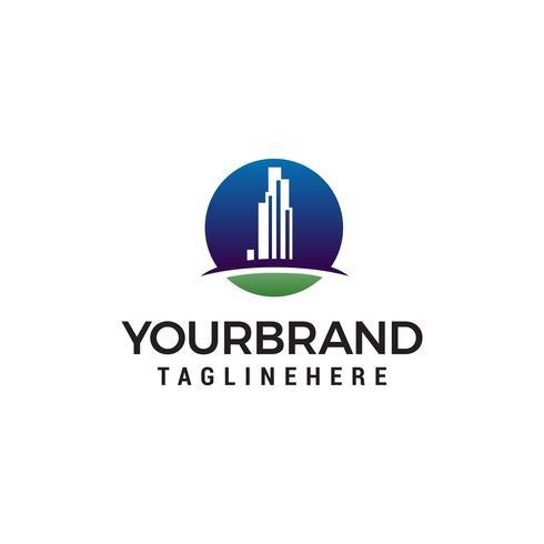 fastighetsbyggnad stad logotyp design koncept mall vektor