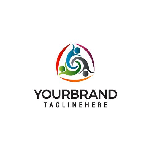 tre människor hälsosam logotyp design koncept mall vektor