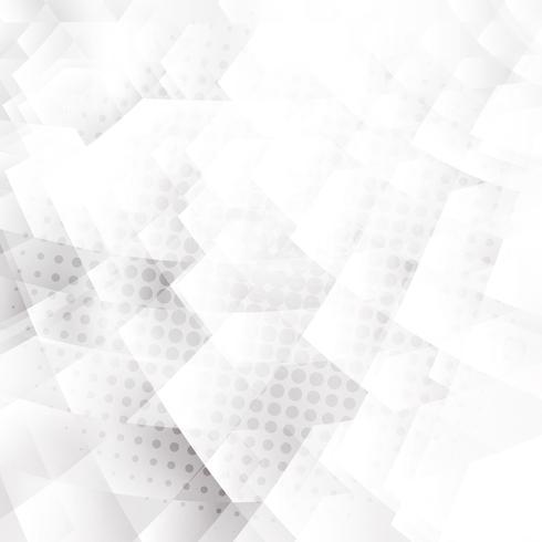 Abstrakte weiße und graue geometrische Hexagonformen, die Hintergrund mit Halbtoneffekt überschneiden. vektor
