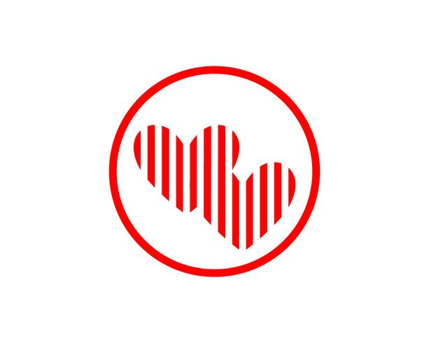 Kärlek röda ikoner Logo och symboler Vector Mall