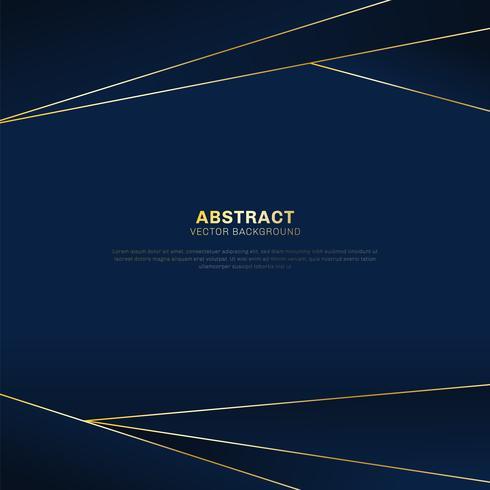 Abstrakter polygonaler Musterluxus auf dunkelblauem Titelhintergrund mit goldenen Linien. vektor