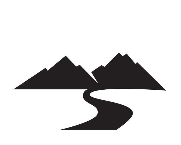 Berg natur landskap logotyp och symboler ikoner mall vektor