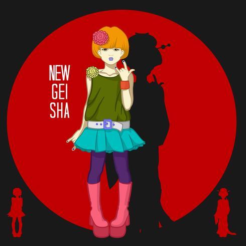 Japansk flicka ung geisha vektor