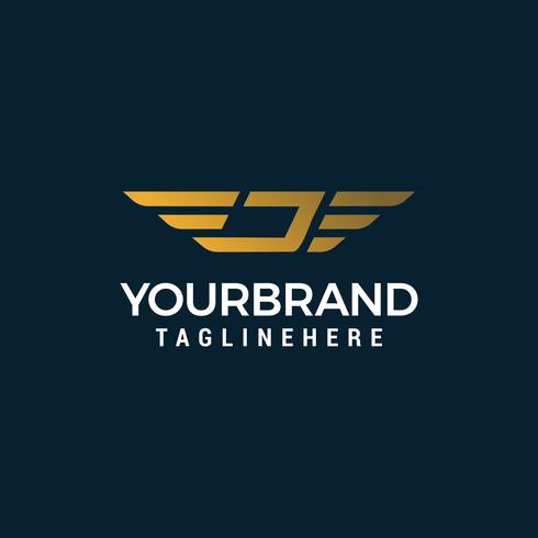 Buchstabe J Flügel Logo Design Konzept Vorlage Vektor