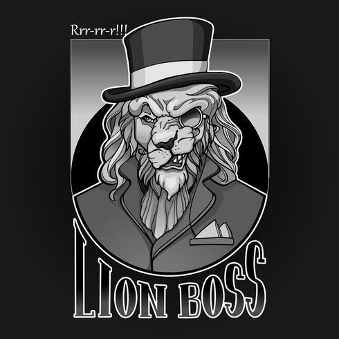 Lion aristokrat porträtt med monocle och hatt vektor