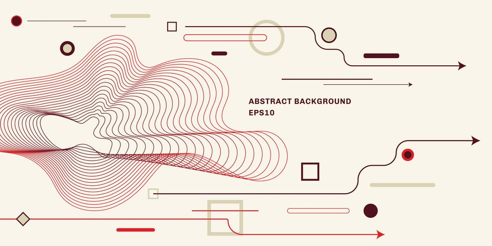 Abstrakt geometrisk bakgrund med platt trendig minimal stil bakgrund. Pil, cirkel, fyrkant, linjelement. vektor