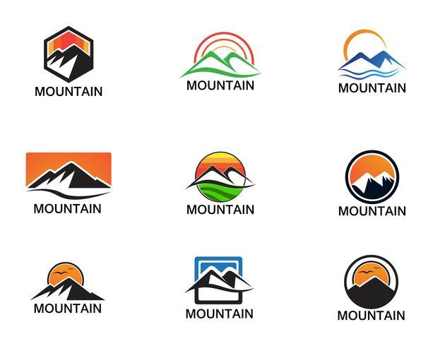 Minimalistiska Landscape Mountain logotyp design inspirationer vektor
