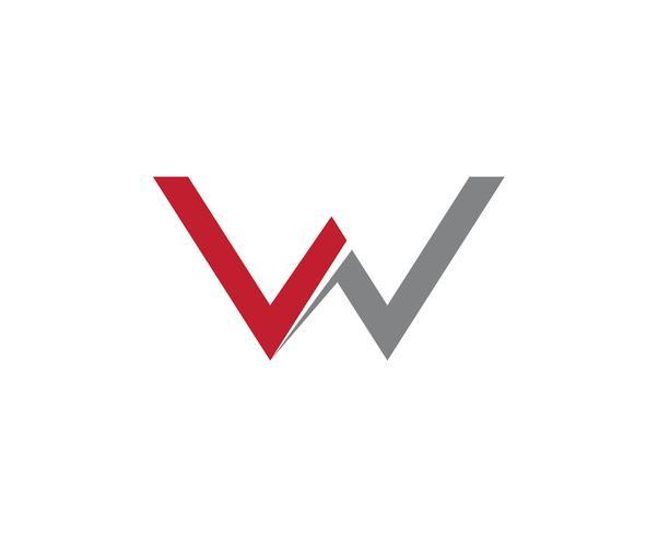 W Brevlogotyp Företagsmall Vektorikon vektor
