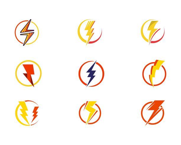Flash power thunderbolt ikoner vektor