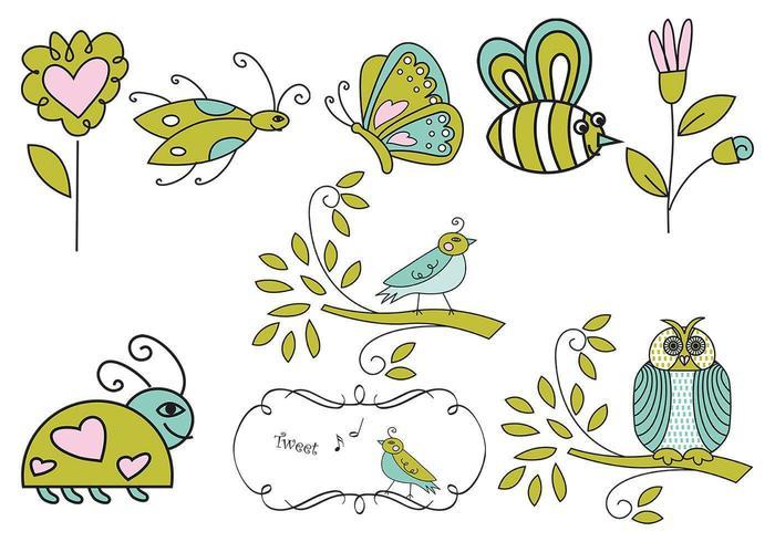 Handgezogene Insekten-, Blumen- und Vogelvektoren vektor