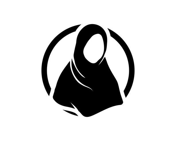 Hijab-Vektorschwarzschablonen vektor