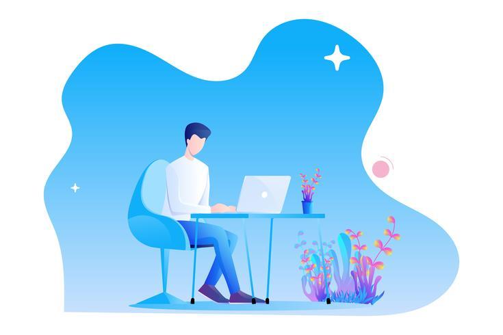Ein Mann arbeitet am Schreibtisch mit seinem Laptop. Modernes flaches Charakterdesign auf weißem Hintergrund vektor