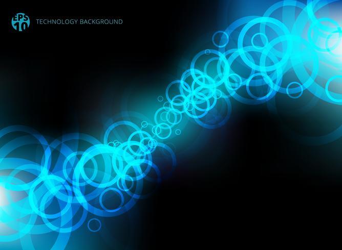 Abstrakt teknologi blå cirklar rörelse på svart bakgrund. vektor
