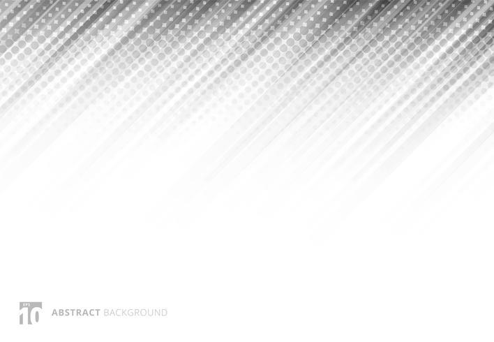 Graue abstrakte diagonale Linien Hintergrundtechnologie mit Halbton auf weißem Hintergrund. vektor