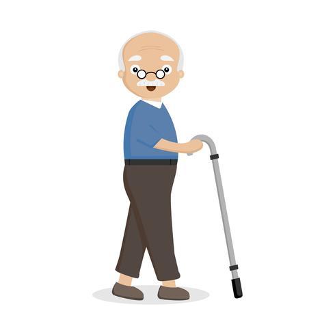 Alter Mann mit einem Stock. vektor
