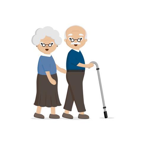 Älteres älteres Ehepaar. Alte Frau, die einem älteren Mann mit Spazierstock hilft. vektor