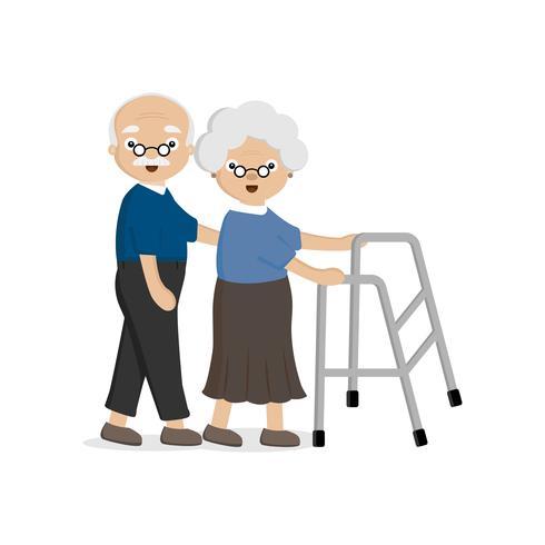 Älteres älteres Ehepaar. Alter Mann hilft einer alten Frau, die mit einem Wanderer geht. vektor