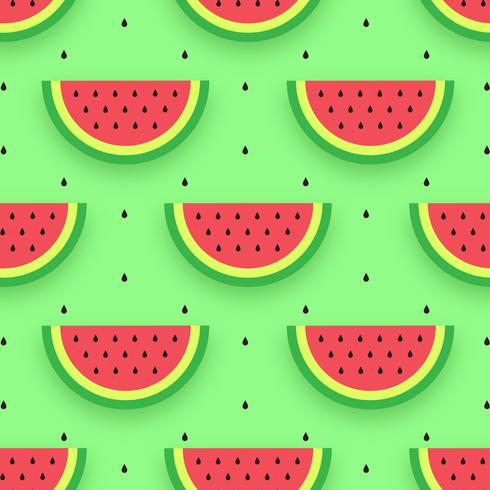 Vattenmelonskivor sömlöst mönster vektor