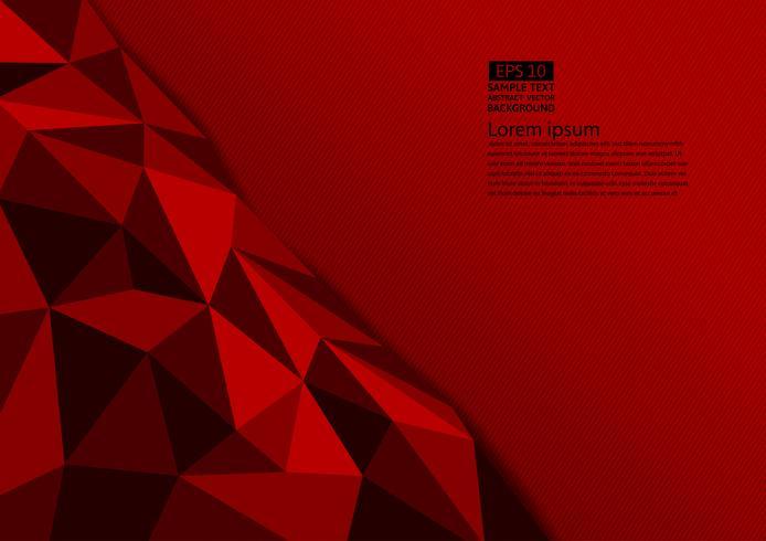 Polygon-Zusammenfassungshintergrund der roten Farbe mit Kopienraum, Vektorillustration eps10 vektor