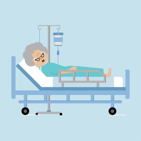 Senior kvinnor ligger i sjukhusbädd med en droppräknare. vektor